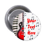 Red Guitar Piano Keys and Note Buttons