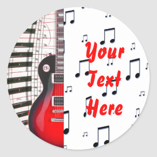 Red Guitar Piano Keys and Note Classic Round Sticker