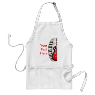 Red Guitar Piano Keys and Note Standard Apron