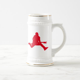 Red Guitar Player Silhouette Beer Stein