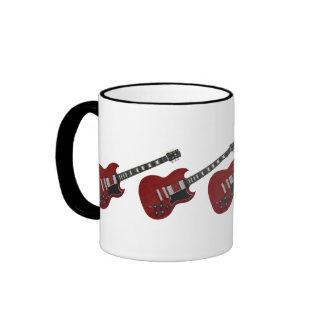 Red guitars ringer mug