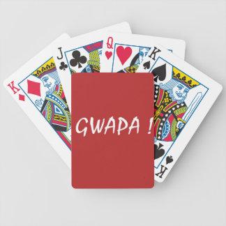 Red gwapa text design cebuano Filipino Tagalog Bicycle Playing Cards
