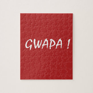 Red gwapa text design cebuano Filipino Tagalog Jigsaw Puzzle