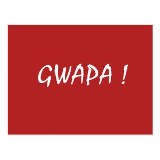 Red gwapa text design cebuano Filipino Tagalog Postcard
