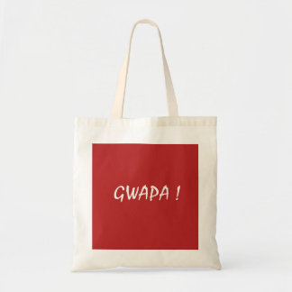 Red gwapa text design cebuano Filipino Tagalog Tote Bag