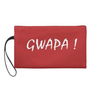 Red gwapa text design cebuano Filipino Tagalog Wristlet