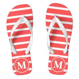 Red H Stripe Monogrammed Thongs