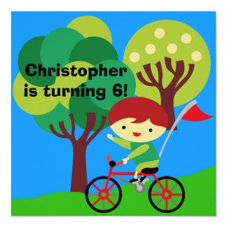 Red Hair Boy on Bicycle Birthday Invitation