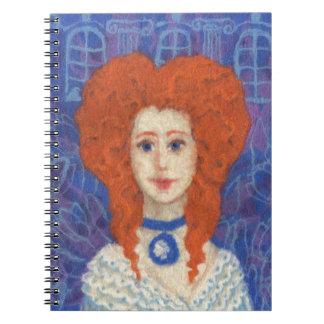 Red Hair, ginger girl rococo fiber art blue orange Notebook