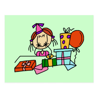 Red Hair Girl With Birthday Gifts T-shirts Postcard