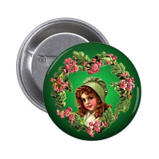 RED HAIR, GREEN BONNET by SHARON SHARPE 6 Cm Round Badge