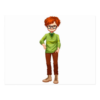 Red hair man postcard