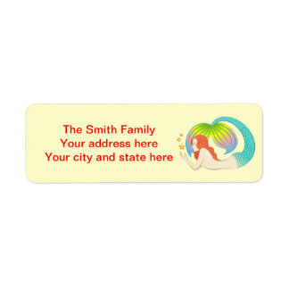 Red hair mermaid with stars return address label