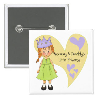 Red Hair Mommy and Daddy s Princess Pinback Buttons