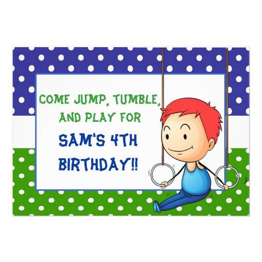 Red Haired Boy Gymnastics Birthday Invitations
