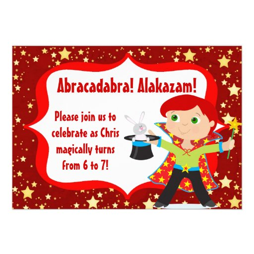 Red Haired Boy Magician Birthday Party Invitation