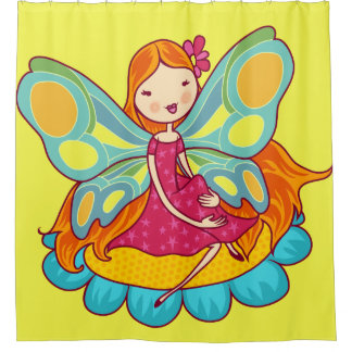 Red Haired Garden Fairy on a Flower Shower Curtain