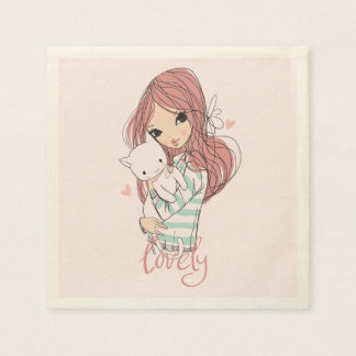 Red Haired Girl and her Little Cat Disposable Napkin
