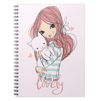 Red Haired Girl and her Little Cat Spiral Notebook