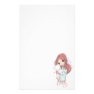 Red Haired Girl and her Little Cat Stationery
