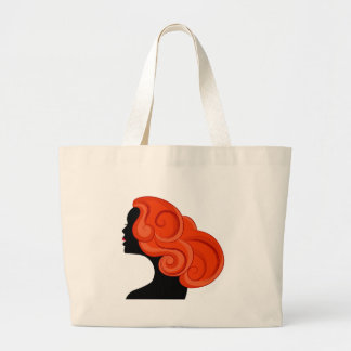 Red Haired Girl Profile Silhouette Jumbo Tote Bag