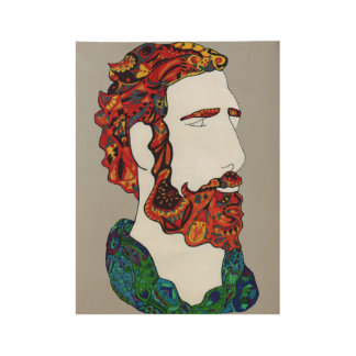 Red-haired hipster dude wood poster