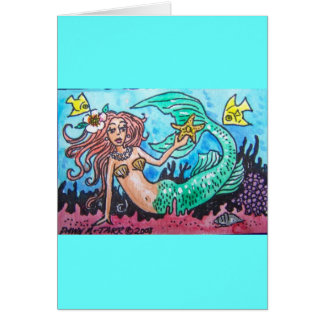 red haired mermaid card