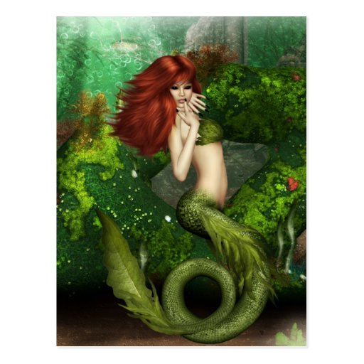 Red Haired Mermaid Postcard