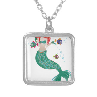 Red Haired Mermaid Silver Plated Necklace