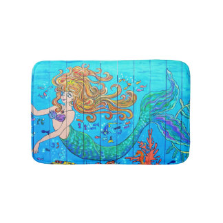 red-haired  mermaid underwater bath mat