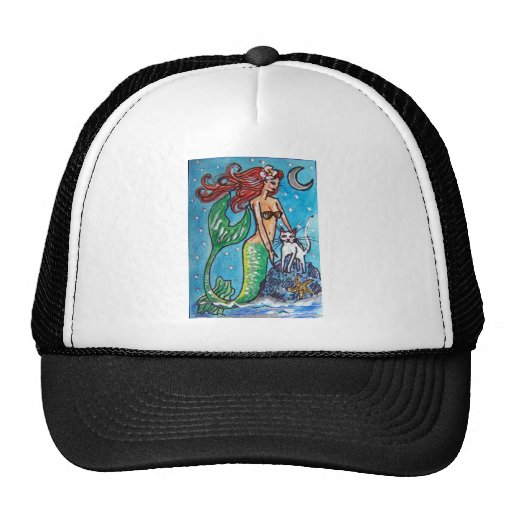 RED HAIRED MERMAID WITH HER WHITE CAT MESH HAT