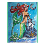 RED HAIRED MERMAID WITH HER WHITE CAT POST CARDS