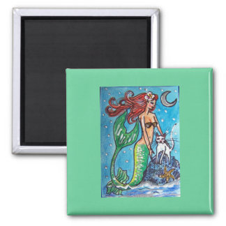 RED HAIRED MERMAID WITH HER WHITE CAT SQUARE MAGNET