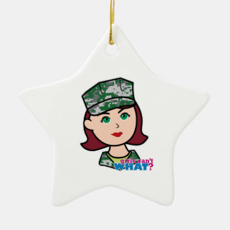 Red Haired Military Girl Camo Head Ceramic Ornament