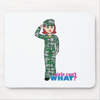 Red Haired Military Girl in Camo Mouse Pad
