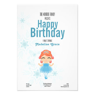 red-haired winter BALLERINA birthday invitation