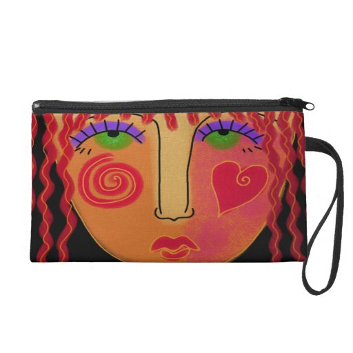 Red Haired Woman Wristlet Clutches