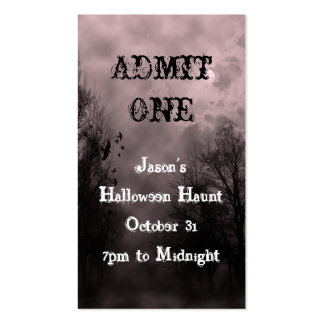 Red Halloween Sky Event Ticket Template Pack Of Standard Business Cards