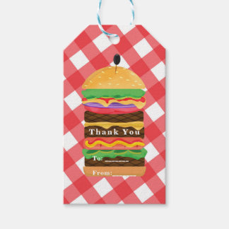 Red Hamburger Summer Cookout Barbecue BBQ Party Gift Tags