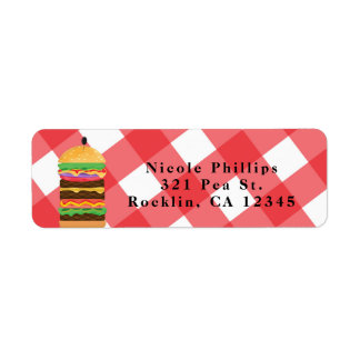 Red Hamburger Summer Cookout Barbecue Invitation Return Address Label