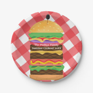 Red Hamburger Summer Cookout Barbecue Party Custom Paper Plate