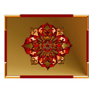 Red Hanukkah Mandala Postcard