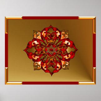 Red Hanukkah Mandala Poster