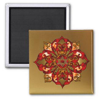 Red Hanukkah Mandala Square Magnet