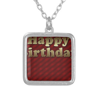 Red Happy-birthday #2 Silver Plated Necklace