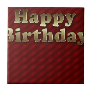 Red Happy-birthday #2 Small Square Tile