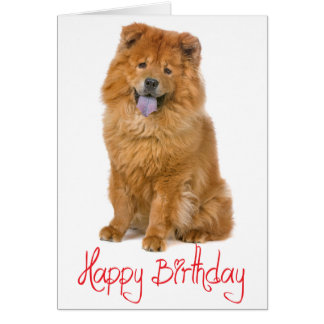 Red Happy Birthday Chow Chow Brown Puppy Dog Card