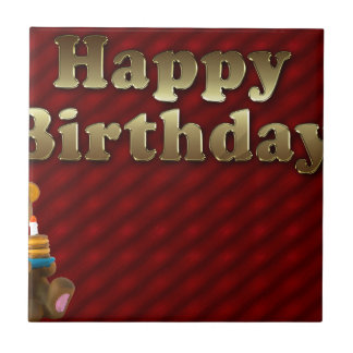 Red Happy-birthday Small Square Tile