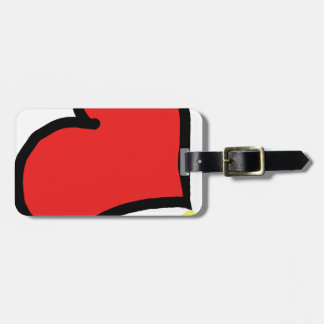 red happy heart luggage tag