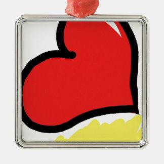 red happy heart Silver-Colored square decoration
